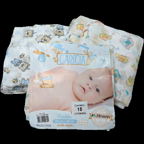 Fraldas Estampadas com 15 Unidades 65cm x 65cm - Carícia Baby
