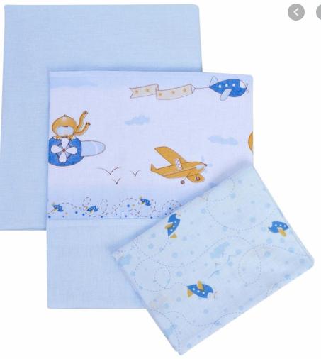 Jogo Para Carrinho - Lençol, Virol e Fronha - 03 Peças - 100% Algodão - Papi Textil