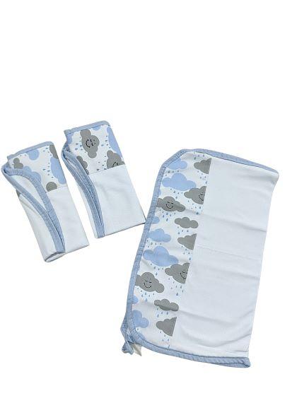 Kit Babetes - Estampas Sortidas - 03 UN - 30cm X 35cm - 100% Algodão - Joaninha Feliz