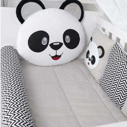 Kit de Berço  Americano - Panda Azul - 11 peças - 100% Algodão - Tiquinho Baby