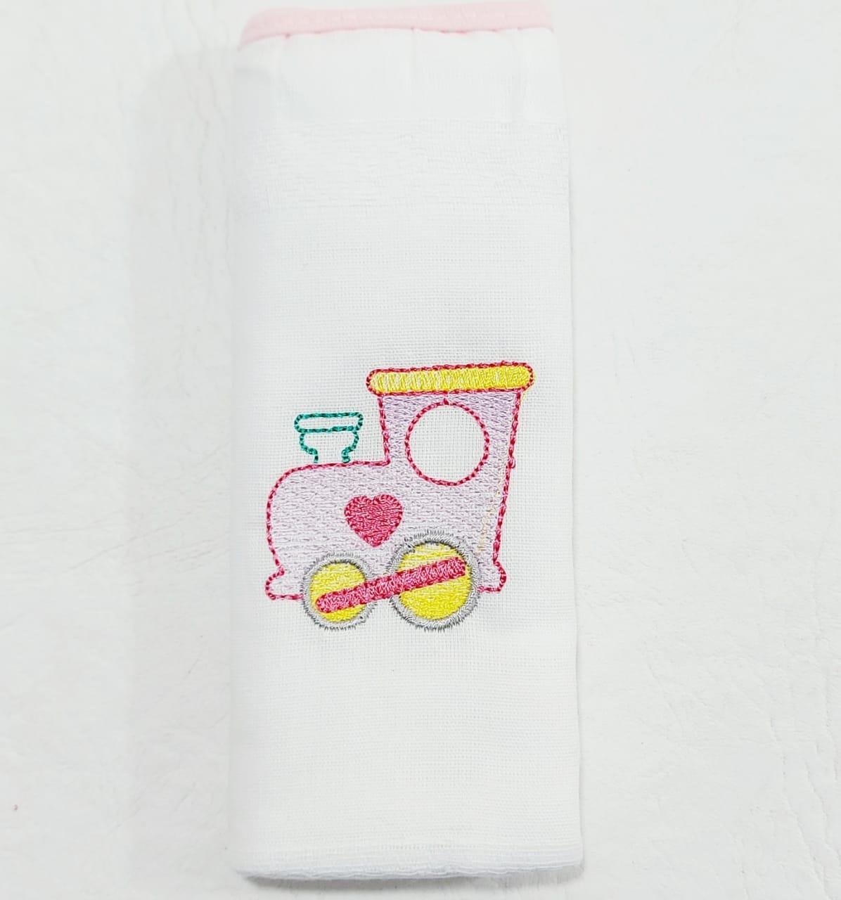 Kit de Fraldas Bichinhos No trem - Bordado Luxo - 03 Peças - 100% Algodão - 70cmx70cm - Cia do Bebê