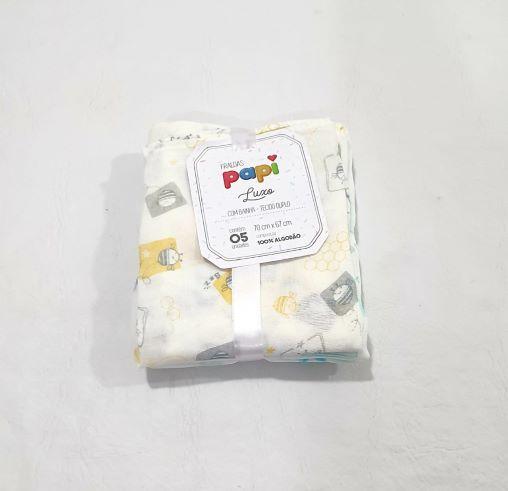 Kit de Fraldas Estampadas - Tecido Duplo - 5 Unidades - 100% Algodão - 70cm x 67cm - Papi
