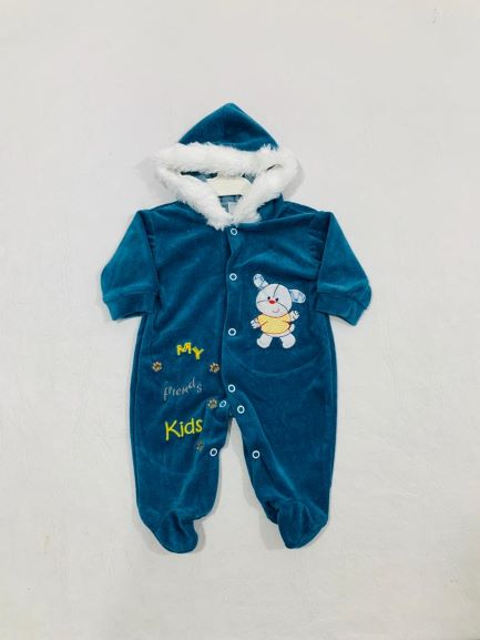 Macacão Plush - Pé fechado C/ Capuz e Pelinhos - Thipau Baby