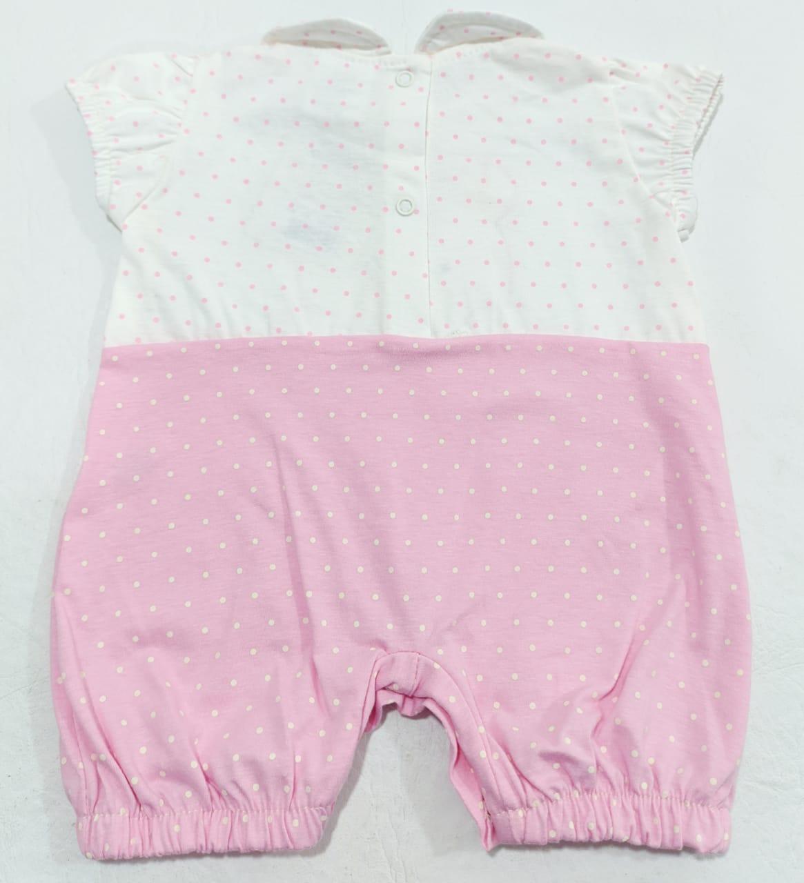 Macacão Ursinho Poá Rosa - Curto - 2 à 10 meses - 100% Algodão - Curioso