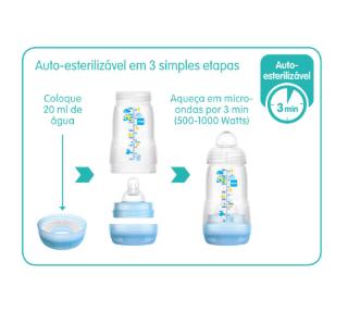 Mamadeiras MAM Anti-Cólica  260ml Linha Easy Start Auto-Esterilizável - Safari 2m+