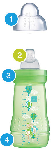 Mamadeira Easy Star 330 ml - 2m+ - Passáros - MAM