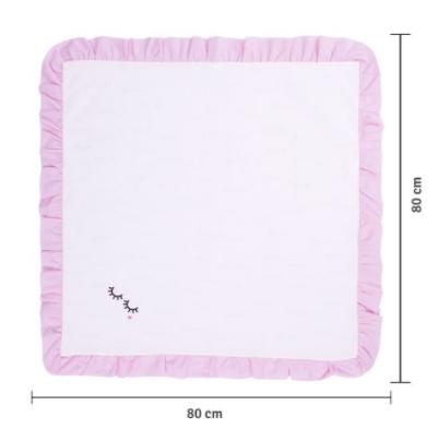 Manta Piquet Bordada Acabamento com Babado 80cm x 80cm - 100% Algodão - Papi Baby