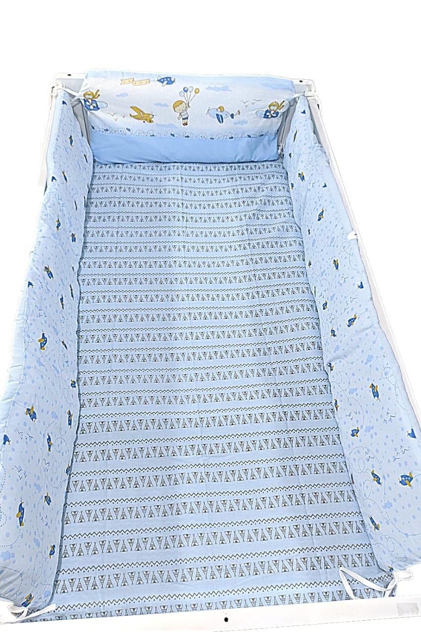 Protetor P/ Berço Padrão - Estampado - 03 Peças - 100% Algodão - Papi Baby