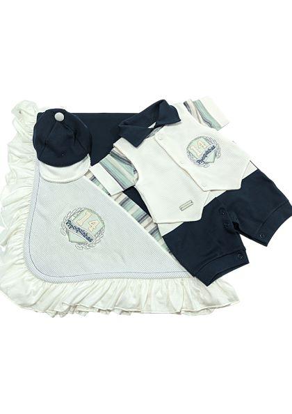 Saída de Maternidade Azul Marinho - 04 Peças - UV Protection 50+ - Pipoquinhas Baby