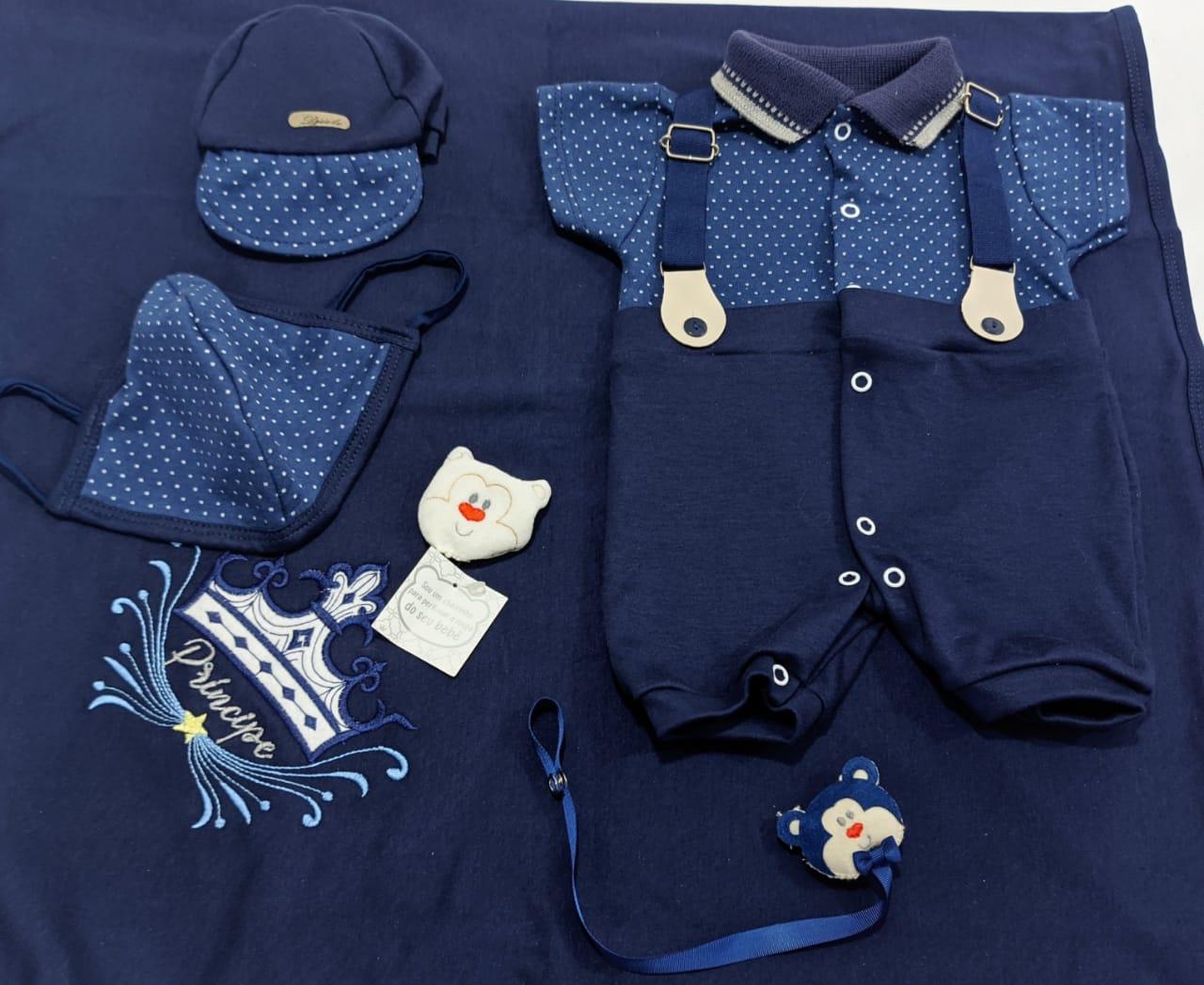 Saída de Maternidade Azul Marinho Poá C/ Suspensório - 05 Peças - Djiele