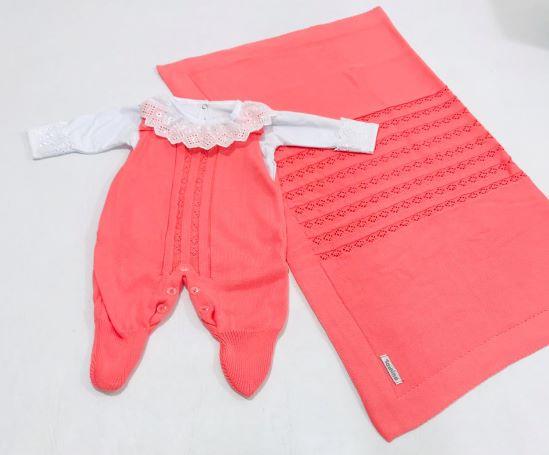 Saída de Maternidade Bordada e Tricot C/ Body - Tam P - 3 peças - Tamine Baby