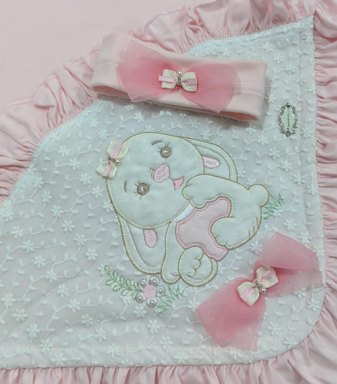 Saída de Maternidade Coelhinha Rosa - Recém Nascido - 04 Peças - UV Protection 50+ em Algodão - Pipoquinhas Baby