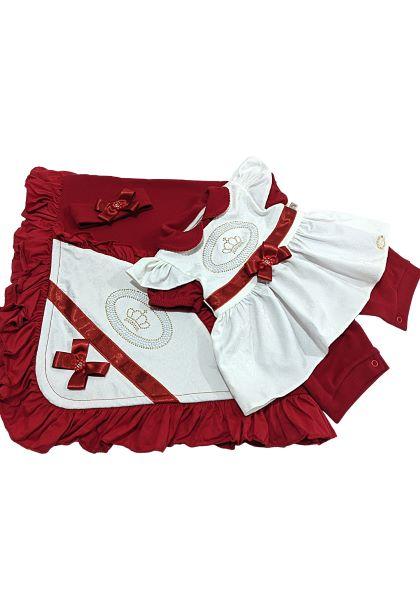 Saída de Maternidade 04 Peças Pipoquinhas Baby - Coroa Vermelha