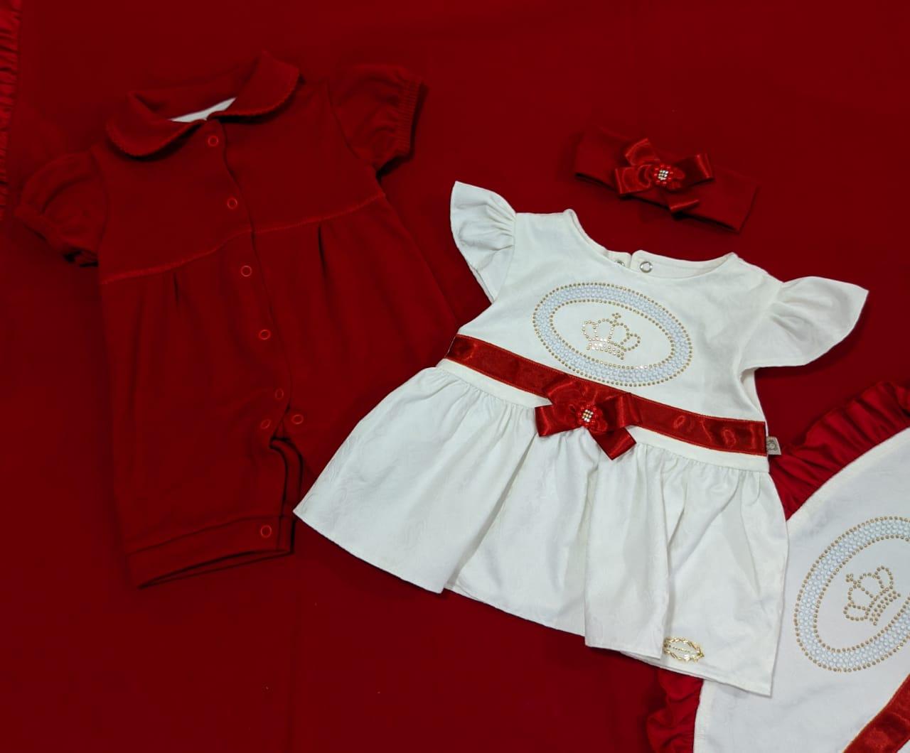 Saída de Maternidade Coroa Vermelha - Recém Nascido - 04 Peças - UV Protection 50+ em Algodão - Pipoquinhas Baby