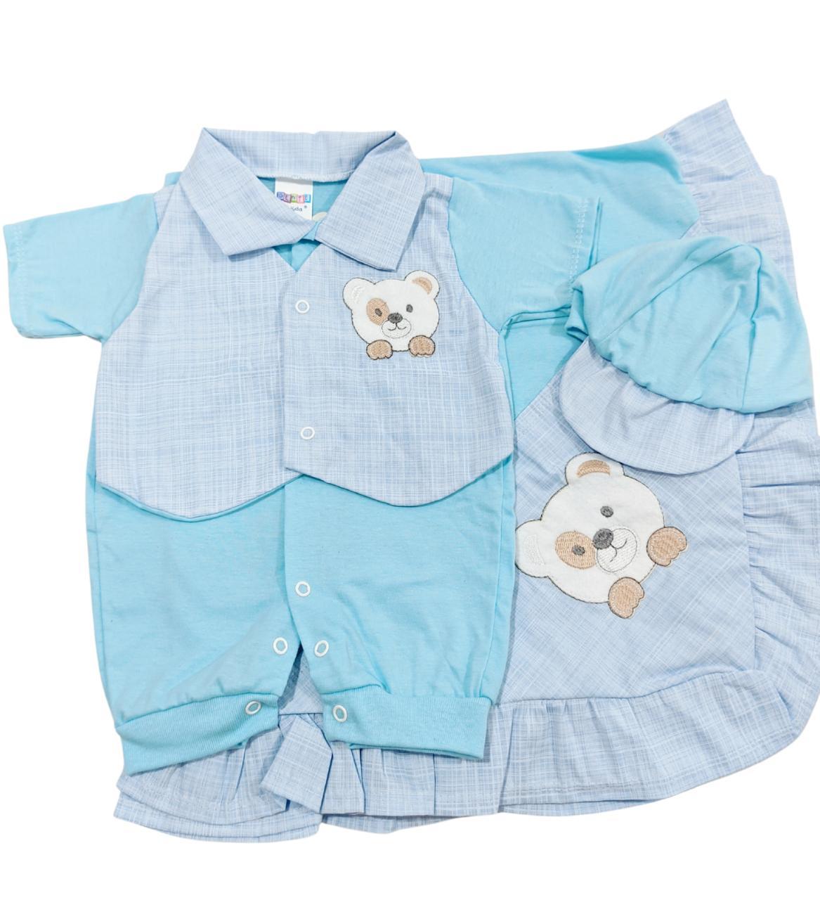 Saída de Maternidade Menino Ursinho - 03 Peças - Gente Miúda
