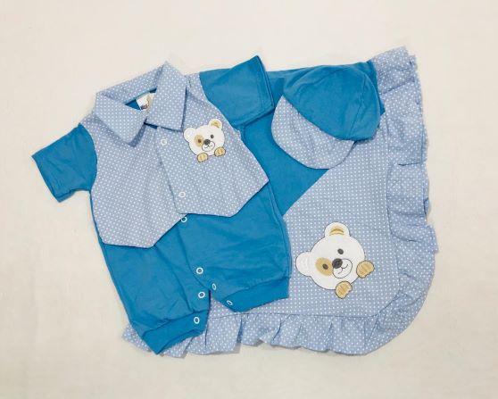 Saída de Maternidade Menino Ursinho - 03 Peças - Recém Nascido - 100% Algodão Gente Miúda
