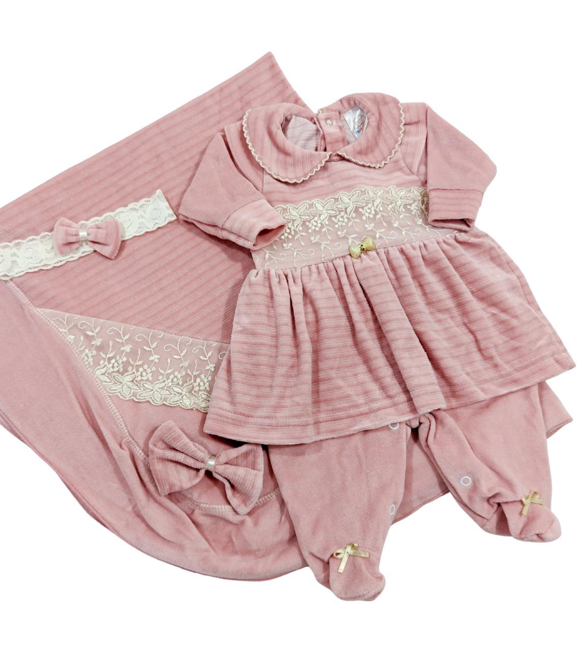 Saída de Maternidade Rosê - Modelo Longo Plush - Recém Nascido 0 à 3 Meses - 03 Peças - Pimpinha