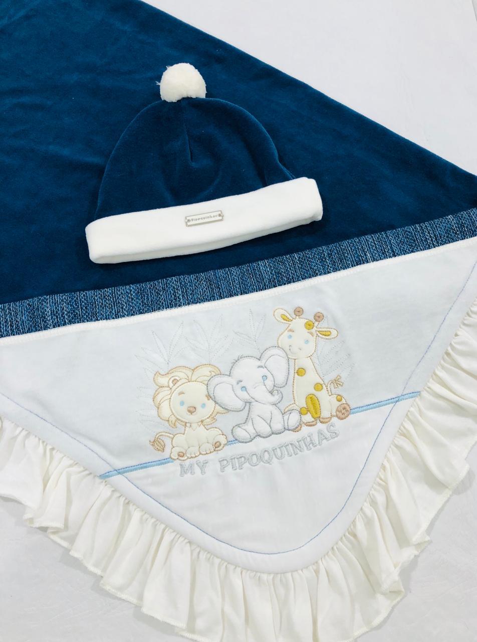 Saída de Maternidade Safari Jeans Plush - Pipoquinhas