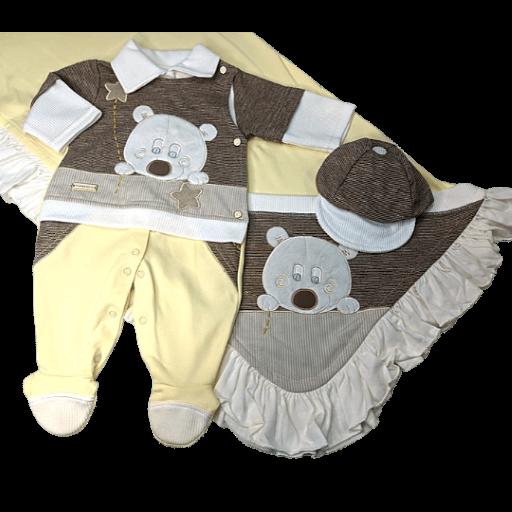 Saída Maternidade 03 Pçs Pipoquinhas Baby - Urso Estrela