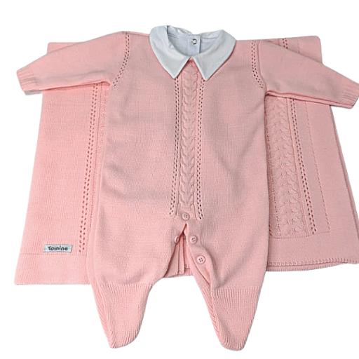 Saída de Maternidade Tricot 03 Pçs Tamine Baby - Rosa