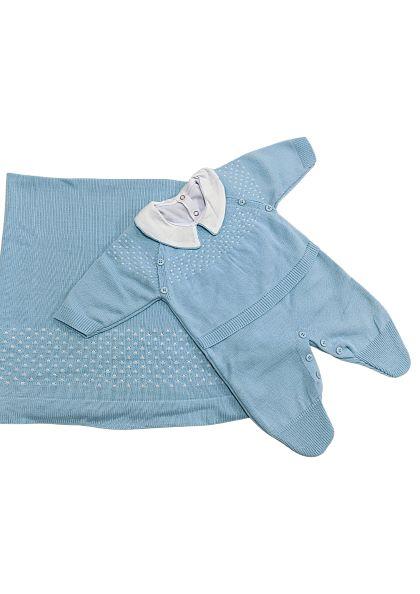 Saída de Maternidade Tricot Azul Claro - 03 peças - Tamine Baby