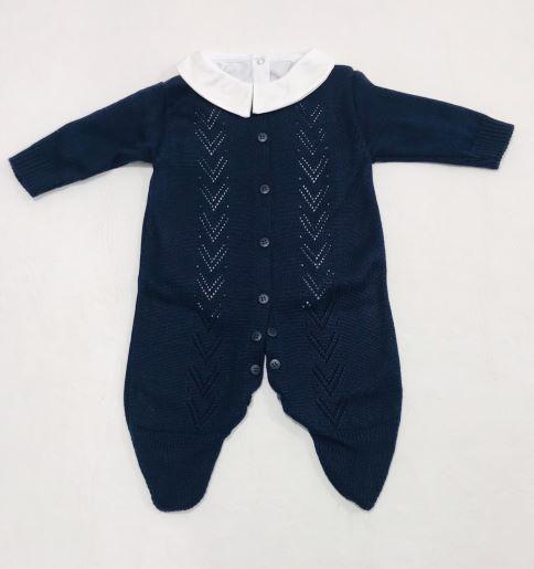 Saída de Maternidade Tricot C/ Body - Azul Marinho - 3 peças - Tamine Baby