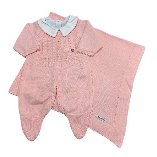 Saída de Maternidade Tricot Rosa - 03 Pçs - Tamine Baby