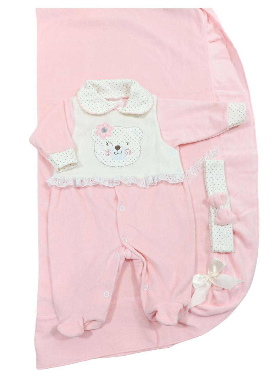 Saída de Maternidade Plush 03 Peças Pimpinha - Ursinha Rosa