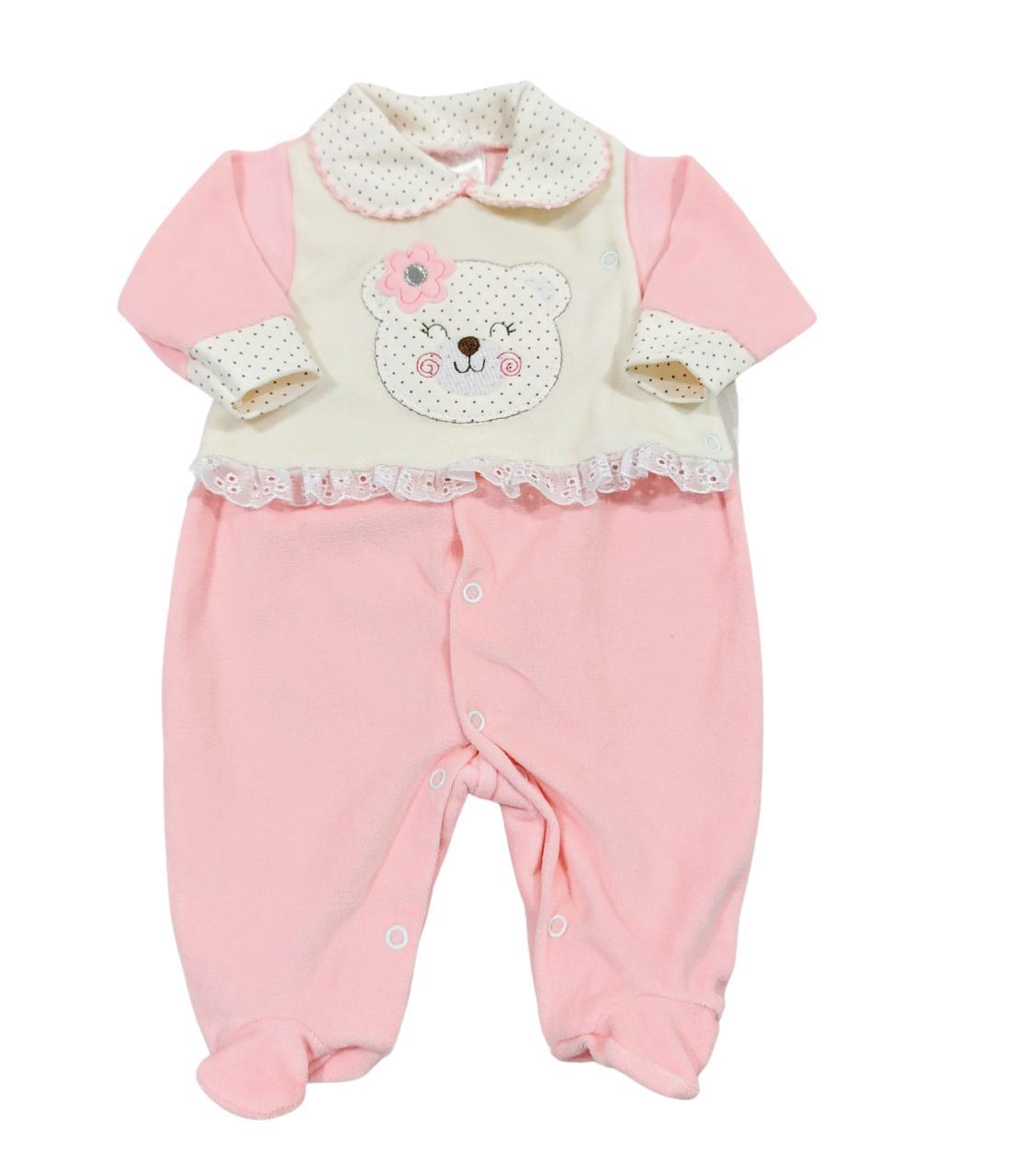 Saída de Maternidade Ursinha Rosa - Modelo Longo Plush - Recém Nascido 0 à 3 Meses - 03 Peças - Pimpinha