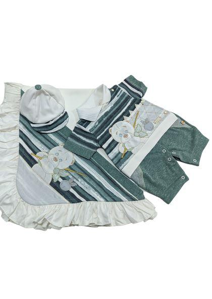 Saída de Maternidade Ursinho - 03 Peças - UV Protection 50+ - Pipoquinhas Baby