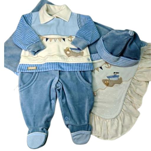 Saída Maternidade 03 Pçs Pipoquinhas Baby - Plush Barco Farol