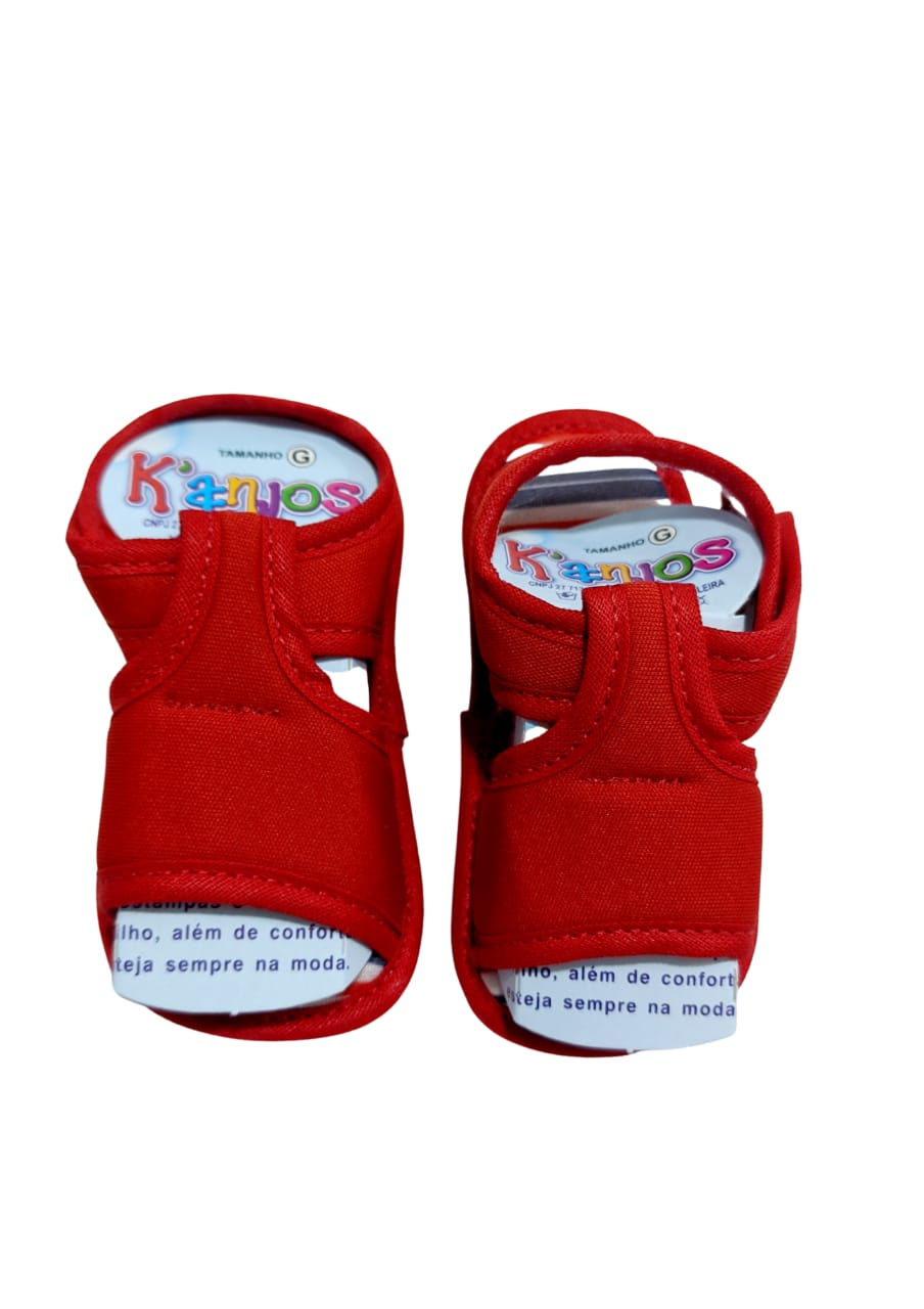 Sandália Vermelha - Velcro - Tam G - 100% Algodão - K'Anjos