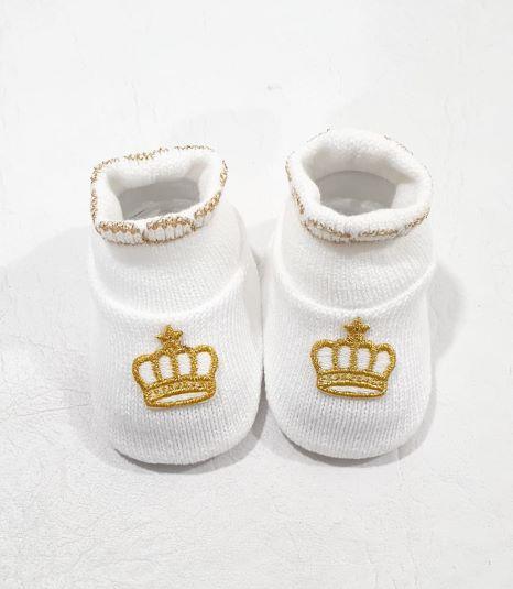 Sapatinho em Tricô Coroa - 0 a 3 meses - Tricart Baby