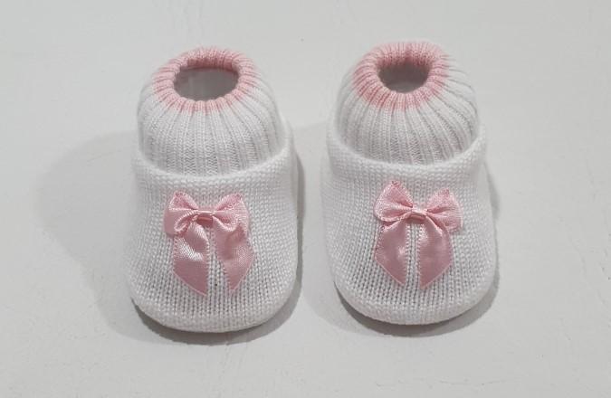 Sapatinho em Tricô Bicolor - 0 a 3 meses - Tricart Baby