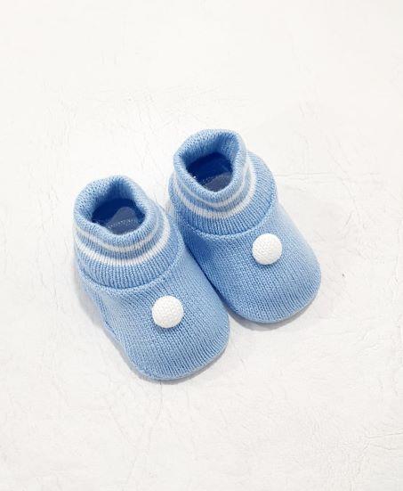 Sapatinho em Tricô Listrado - 0 a 3 meses - Tricart Baby