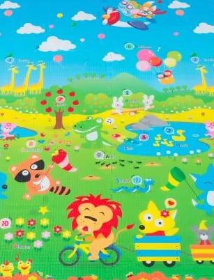 Tapete Infantil ABC Animal da Selva 1,20x1,80m - Dupla Face Ibimboo
