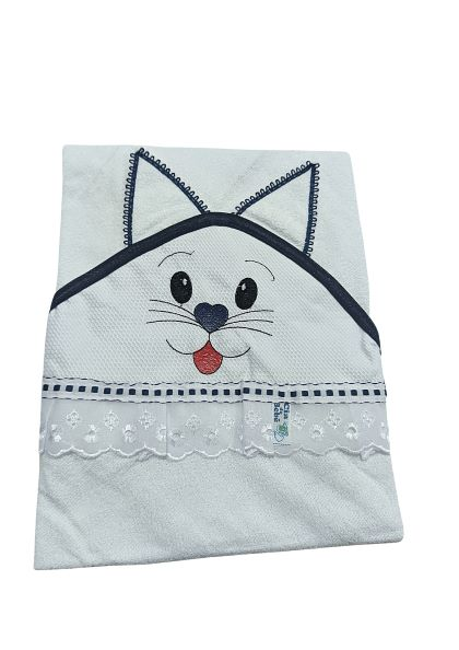 Toalha de Banho Bichinhos Com Capuz Bordado - Estampas Sortidas - 100% Algodão - 80cm x 70cm - Cia Do Bebê