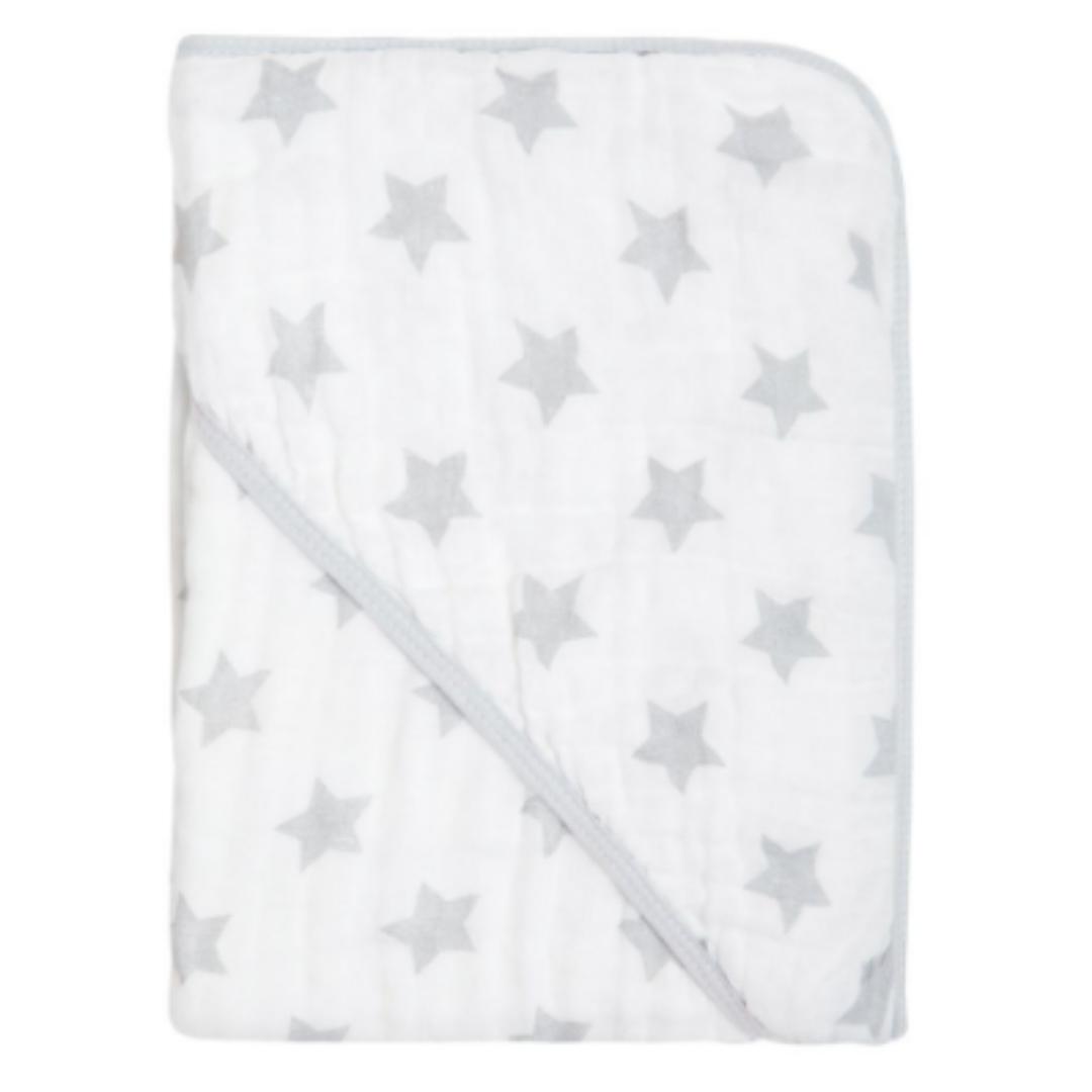 Toalha De Banho Com Capuz 80cm x 80cm Papi Soft - Star Cinza