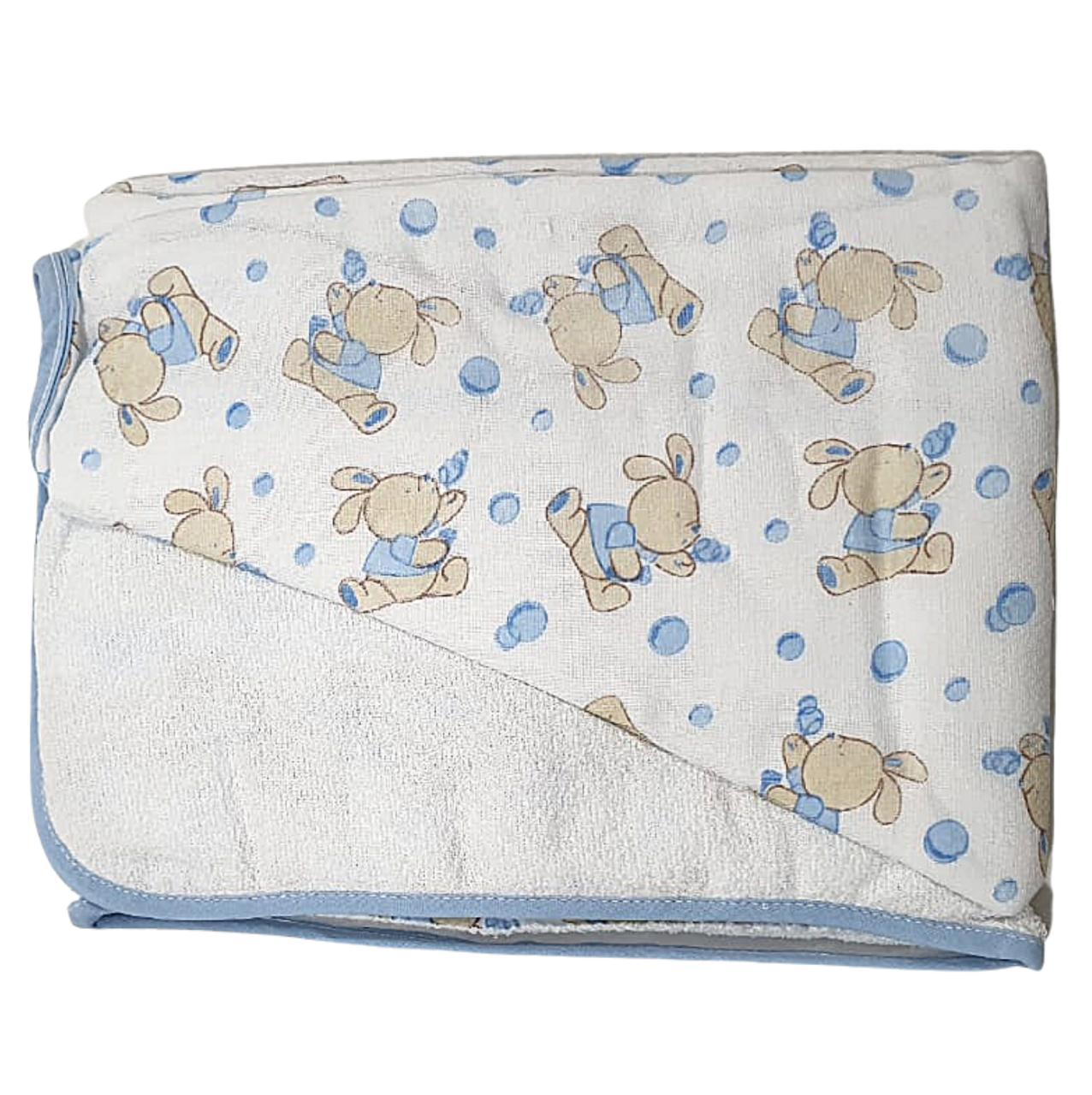 Toalha de Banho Felpuda - Com Capuz Bordado - Forro em Fralda -  70cm x 1,08m - Minasrey