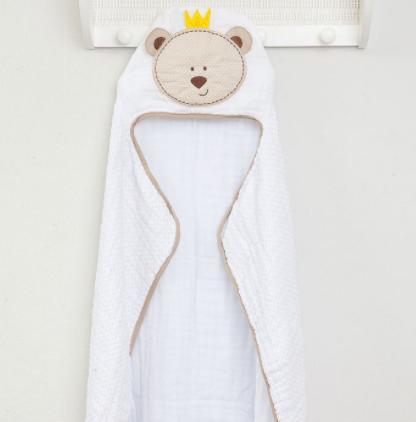 Toalha de Banho Soft Bichos - Tecido duplo - Com Capuz Bordado - 100% Algodão 90cm x 75cm - Papi Toys