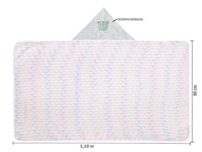 Toalhão de Banho Felpuda - Com Capuz Bordado - Forro de Fralda -  1,10m x 80cm - Papi Soft Premium