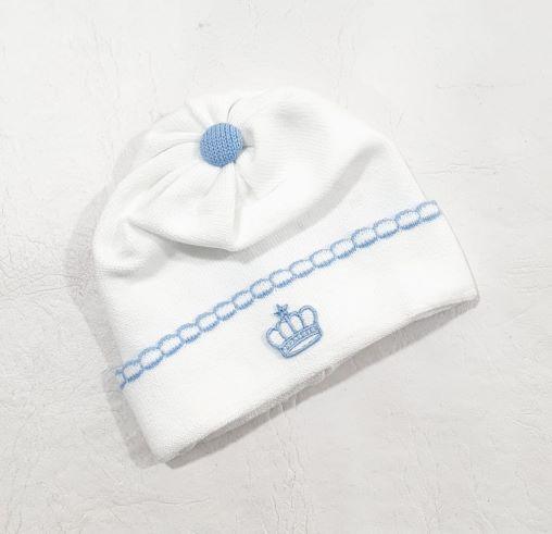 Touca em Tricô Coroa - 0 a 3 meses - Tricart Baby