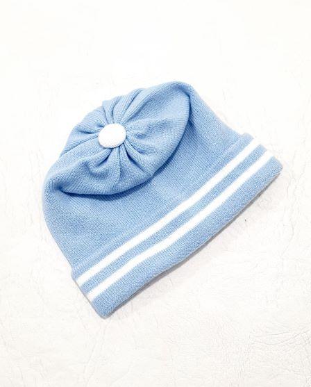 Touca Tricô Listrada - 0 à 3 meses - 01 Peça - Acrílico - Tricart Baby