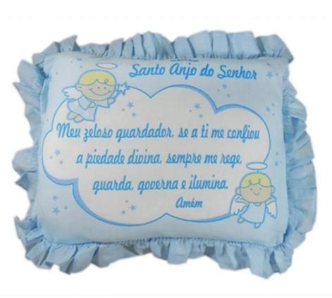 Travesseiro de Espuma -Oração Santo Anjo - 35cm x 28cm - 100% Algodão - Cia do Neném