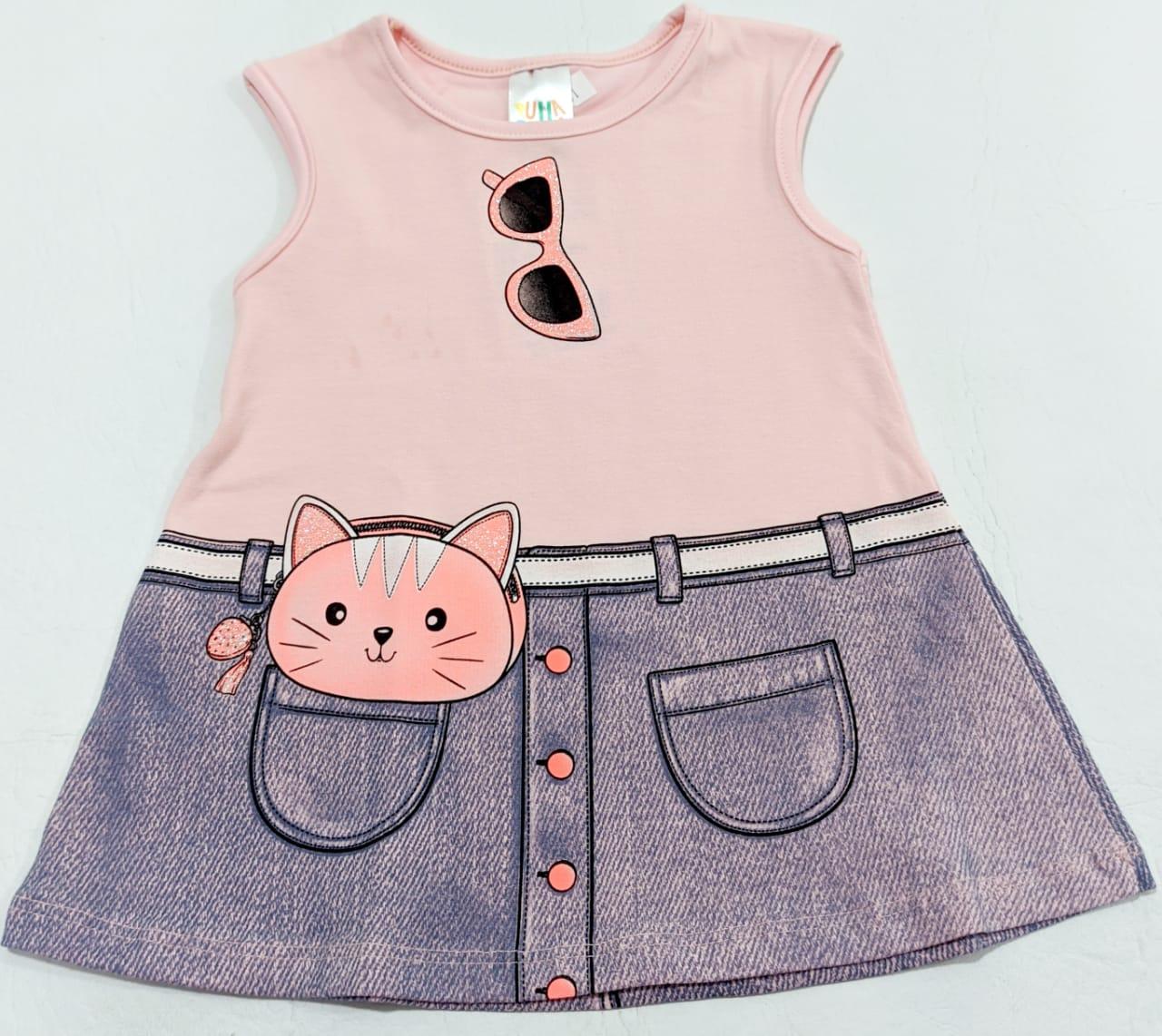 Vestido Gatinha Rosa - Sem Mangas - 01 Peça - Em Algodão e Elastano - Pulla Bulla
