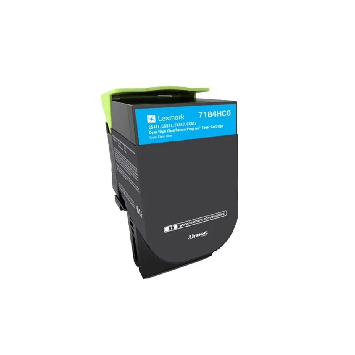 Toner Lexmark 71B4HC0 Original rendimento  3.500 Pgs Ciano para uso nas impressoras CS417dn CX417de