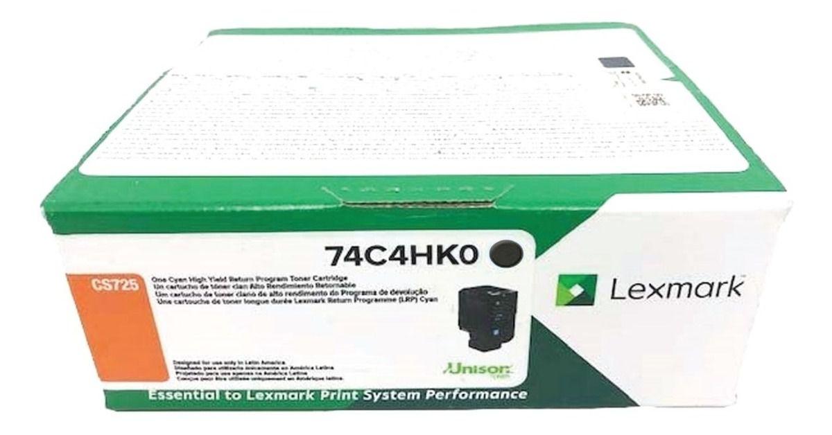 Toner Original Lexmark 74C4HK0 rendimento extra-alto 20.000 Pgs - Preto