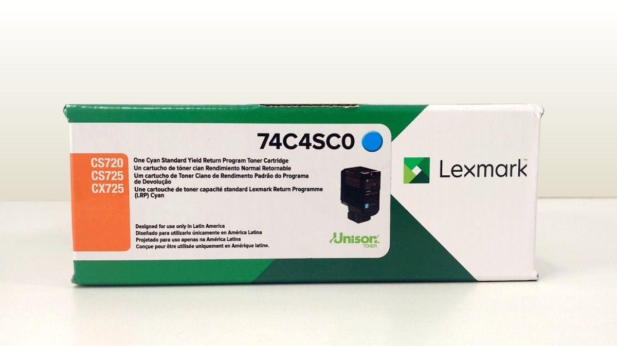 Toner Original Lexmark 74C4SC0 rendimento extra-alto 7.000 Pgs - Ciano
