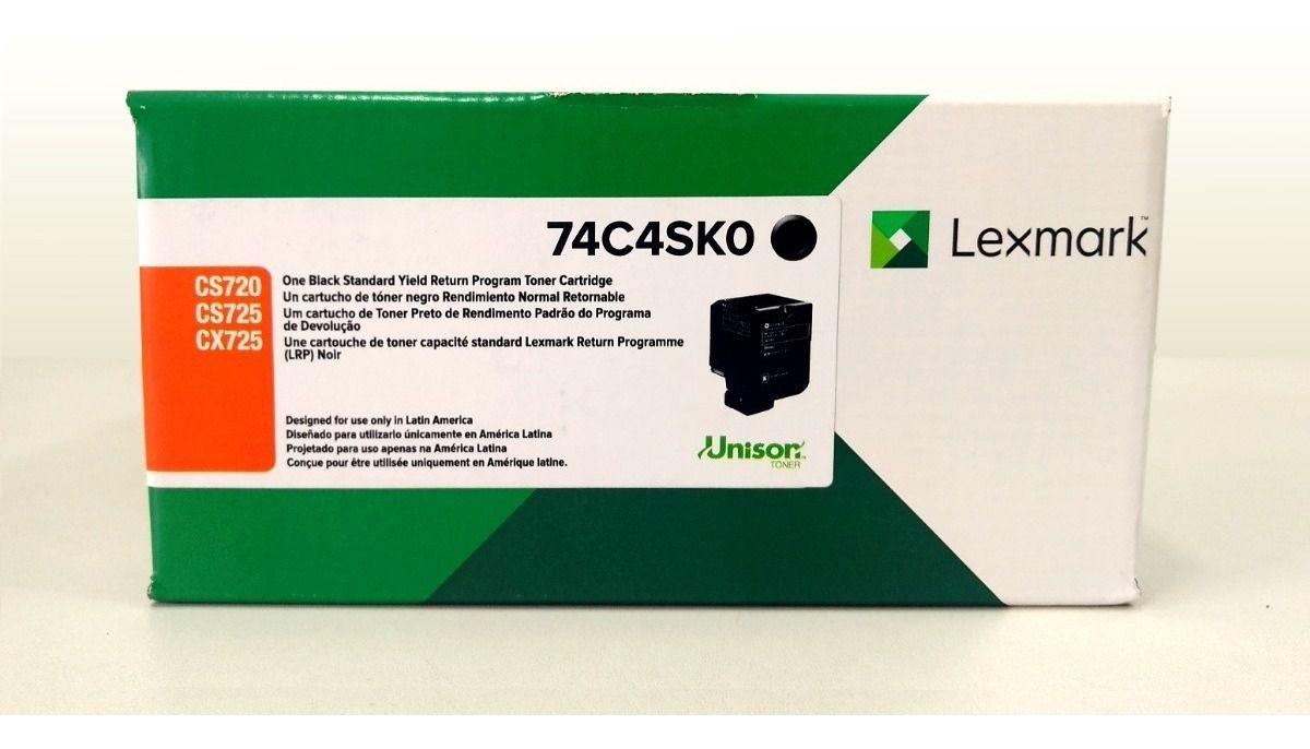 Toner Original Lexmark 74C4SK0 rendimento extra-alto 7.000 Pgs - Preto