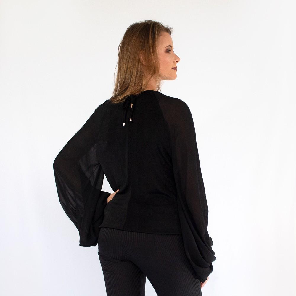 Blusa manga longa bufante Lika com detalhes em pedrarias